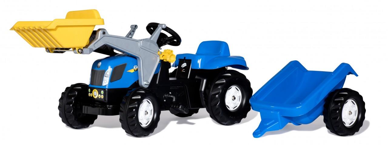 tractor azul con pala para niños