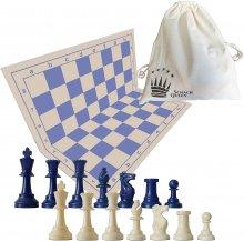 set de ajedrez azul y beige