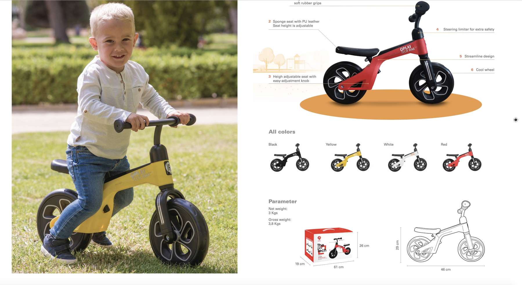 Bicicleta evolutiva QPlay Balance 10 pulgadas Roja - info