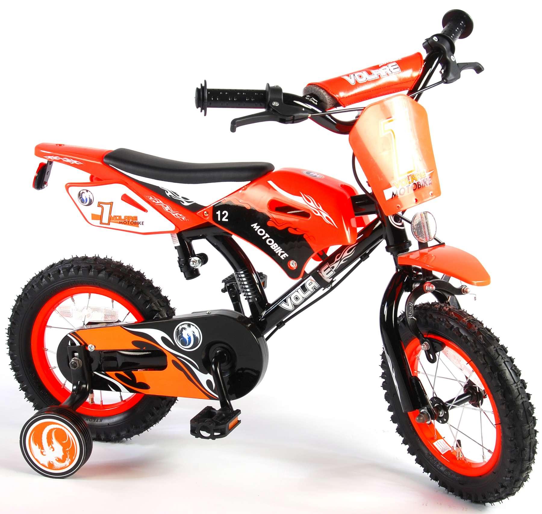 Bicicleta Motorbike de 12 pulgadas Naranja - vista lateral izq.
