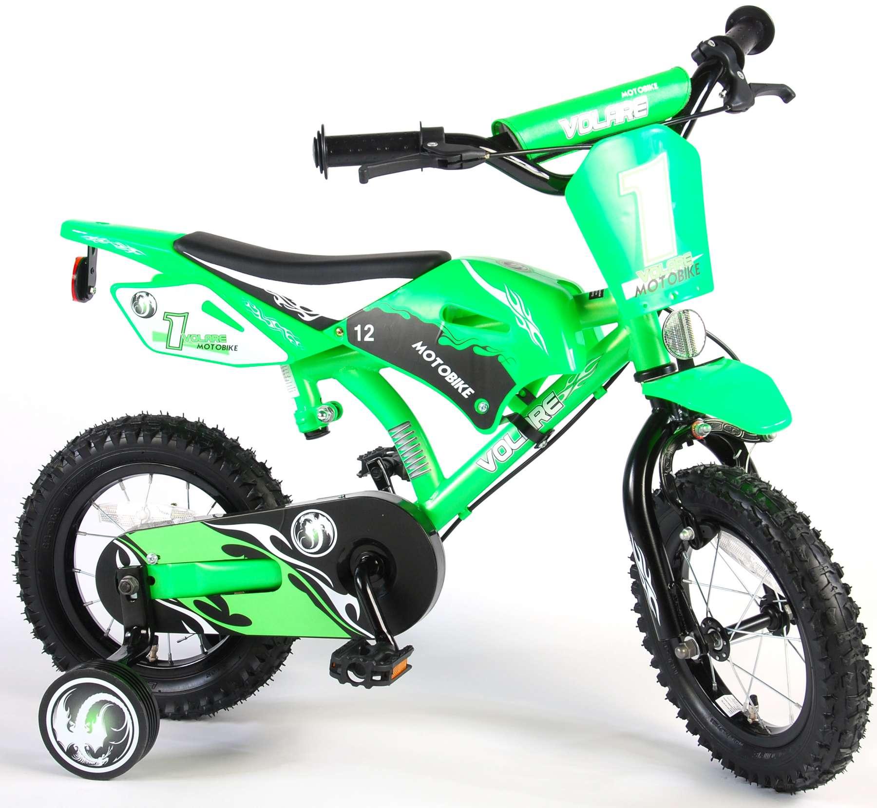 Bicicleta Motorbike de 12 pulgadas Verde - vista lateral der.