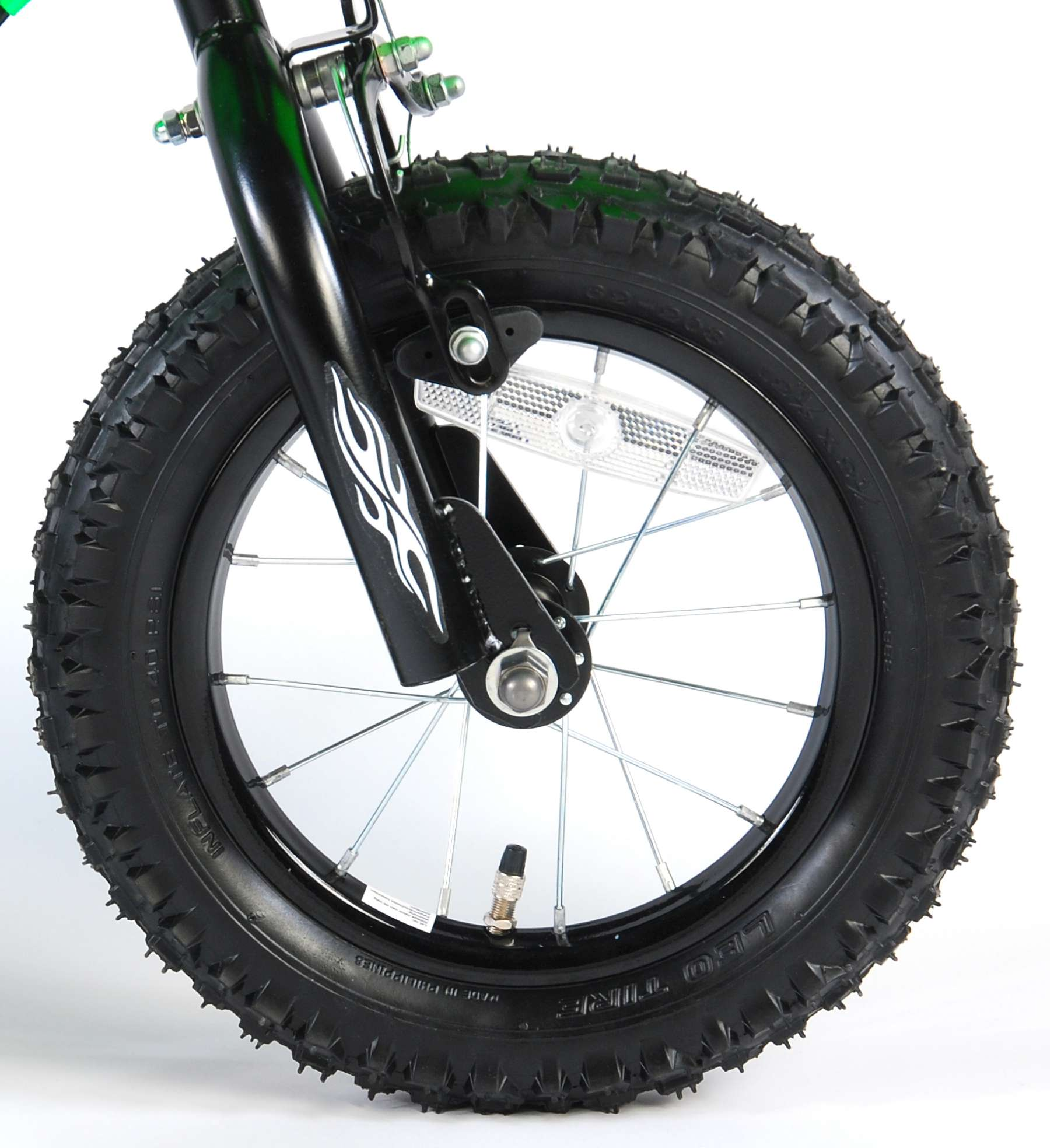 Bicicleta Motorbike de 12 pulgadas Verde - rueda delantera