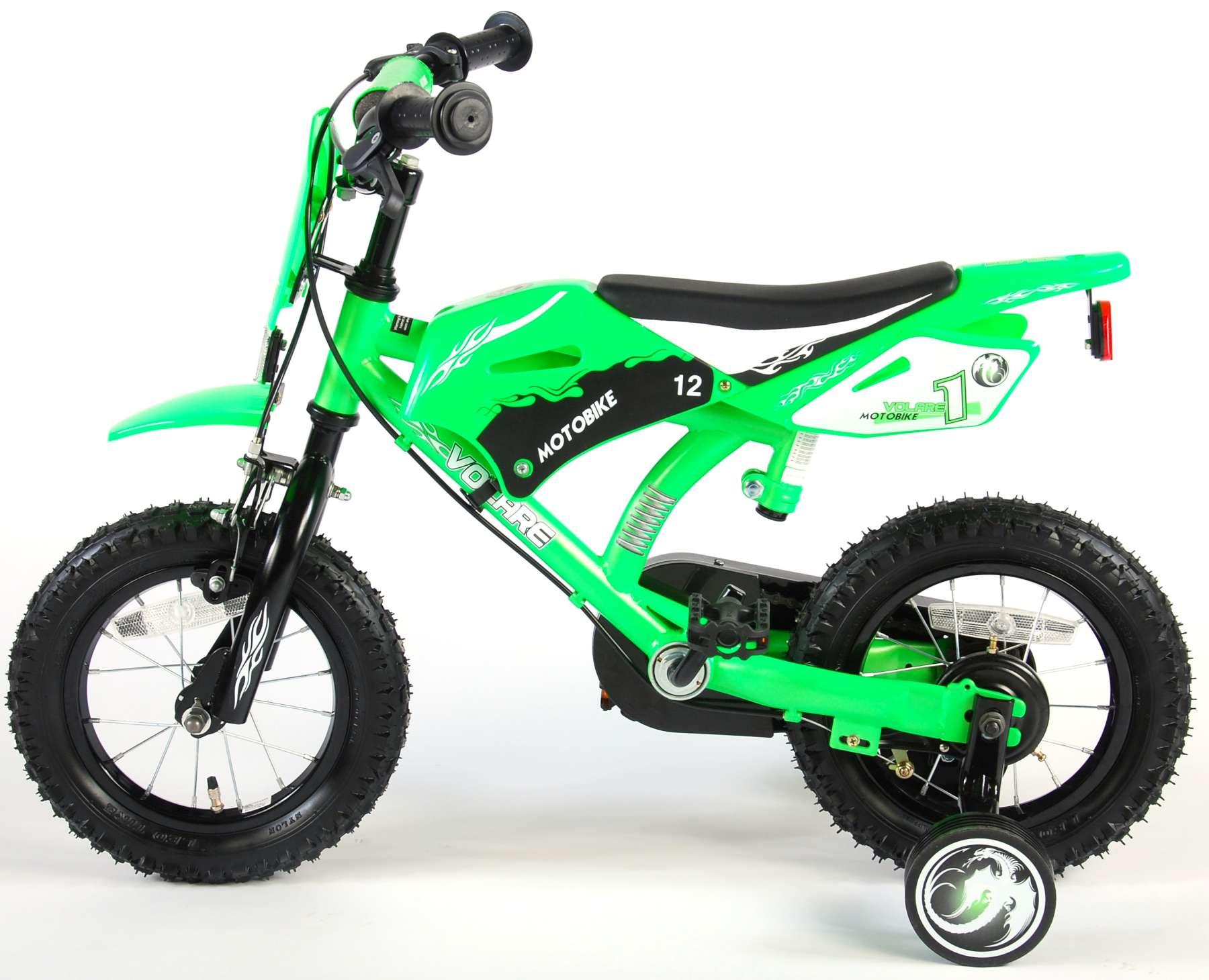 Bicicleta Motorbike de 12 pulgadas Verde - vista lateral izq.