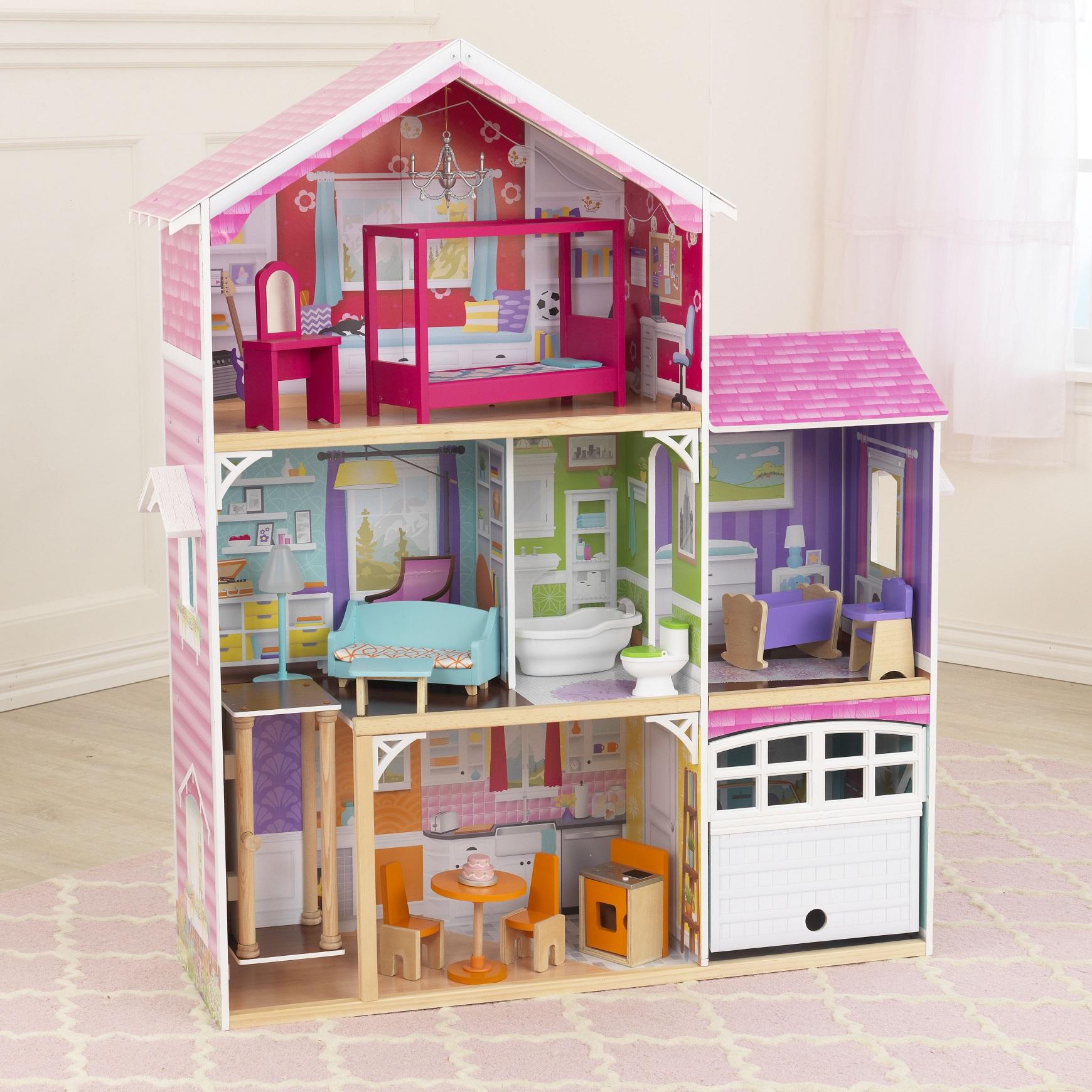 Imagen donde se aprecian con detalle todas las habitaciones de kidkraft casa de muñecas avery 65943