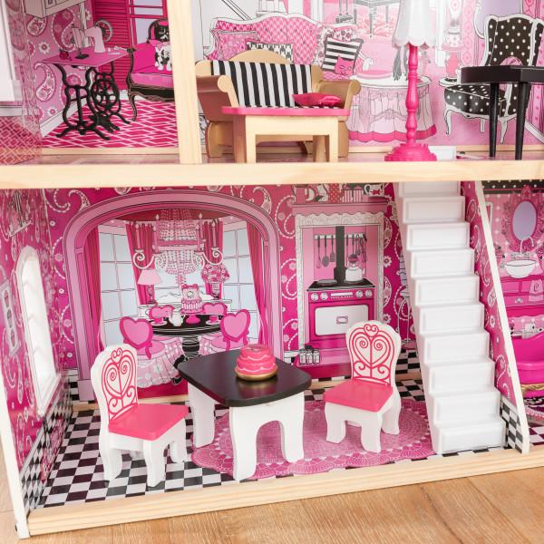 Detalle de mesas y sillas del salón de kidkraft casa de muñecas bella 65944 width=