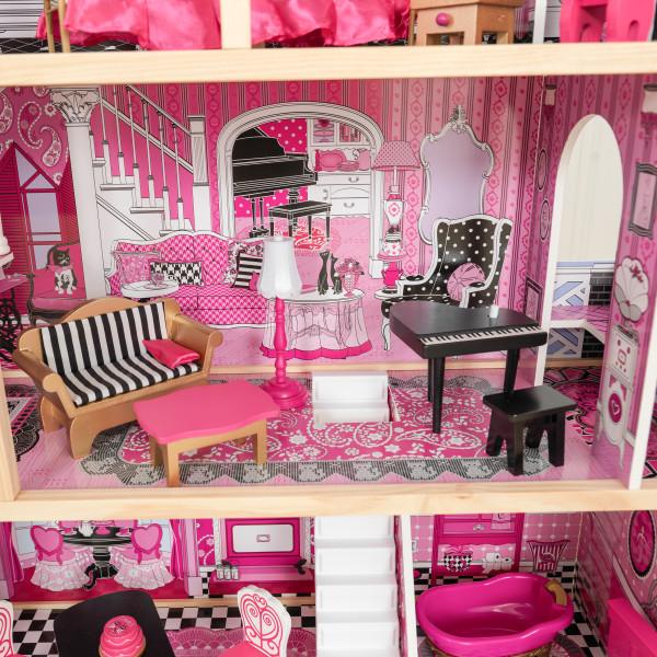 Detalle del piano y sofá de kidkraft casa de muñecas bella 65944 width=