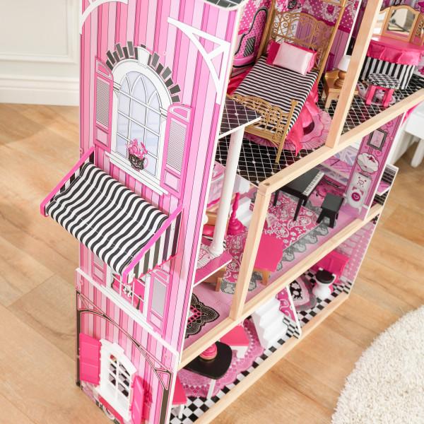 Detalle lateral de kidkraft casa de muñecas bella 65944 width=
