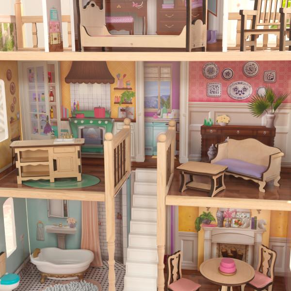 Detalle de escalera y varias estancias de kidkraft casa charlotte 65956 width=