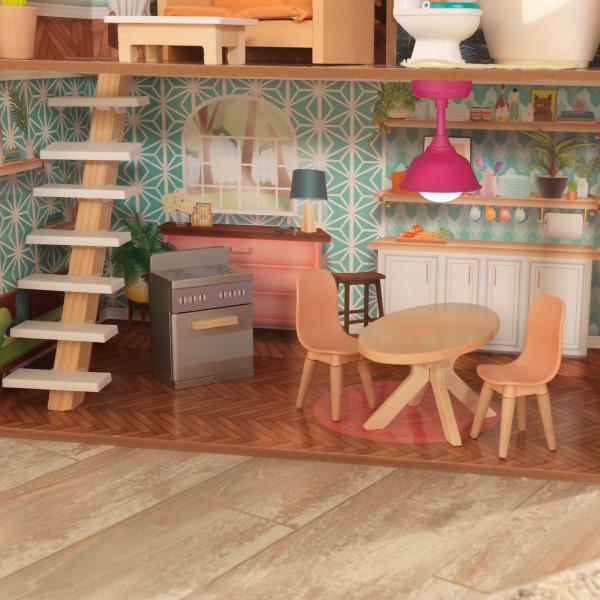 Detalla cocina con preciosa escalera de kidkraft casa dottie 65965
