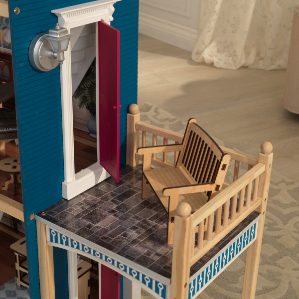 Detalle banco de la terraza de kidkraft casa gran aniversario 65947 width=