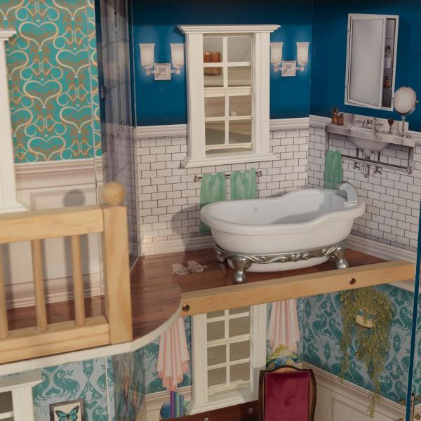 Detalle baño con bañera de kidkraft casa gran aniversario 65947