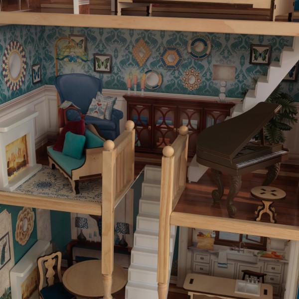 Detalle piano, escalera y sofa de kidkraft casa gran aniversario 65947