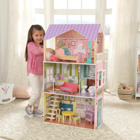 Kidkraft casa de muñecas poppy 65959 con niña encantada jugando width=