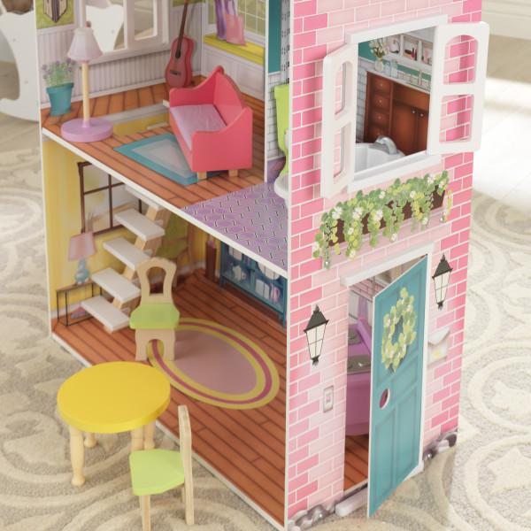 Vista lateral de la casa kidkraft de muñecas poppy 65959