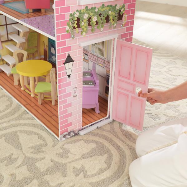 Detalle de la puerta de la casa kidkraft de muñecas poppy 65959