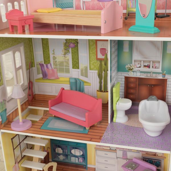 Detalle del baño y del salón de la casa kidkraft de muñecas poppy 65959