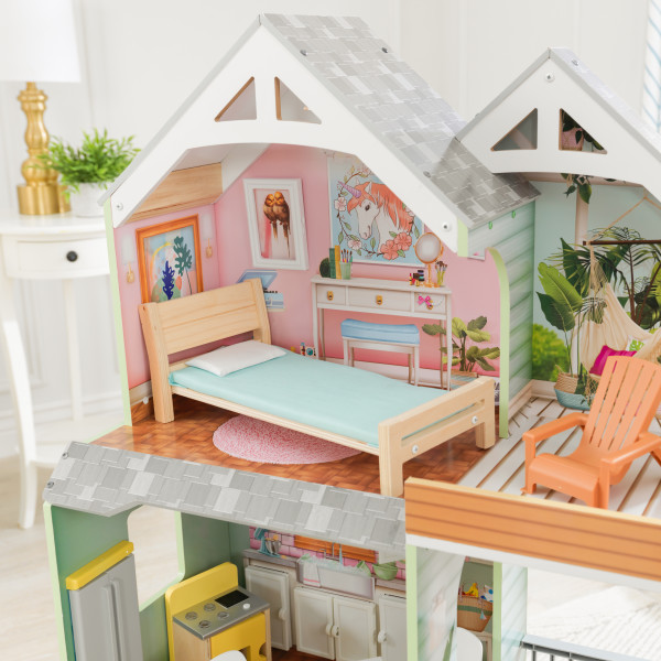 kidkraft casa de muñecas Hallie 65980 - habitacion y terraza