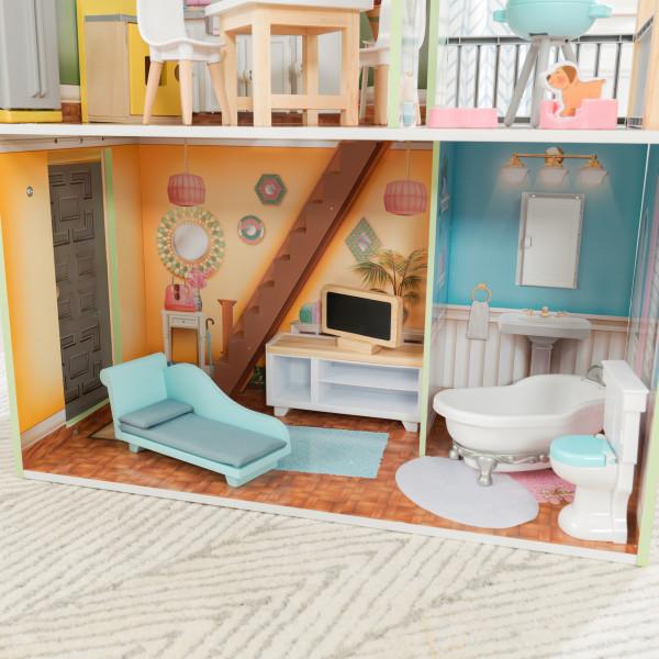 kidkraft casa de muñecas Hallie 65980 - sala de estar y baño