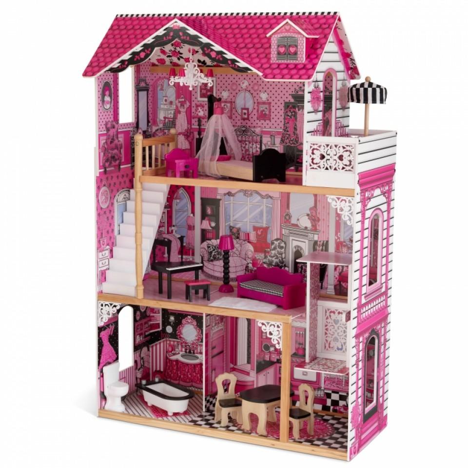 Imagen donde se puede apreciar todos los detalles de kidkraft casa de muñecas amelia 65093 width=
