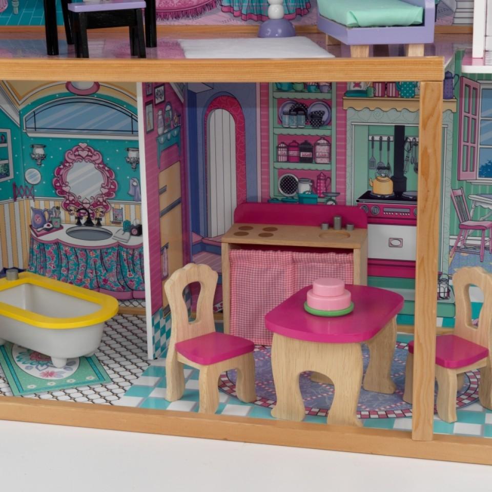 Detalle de la cocina de kidkraft casa de muñecas annabelle 65934