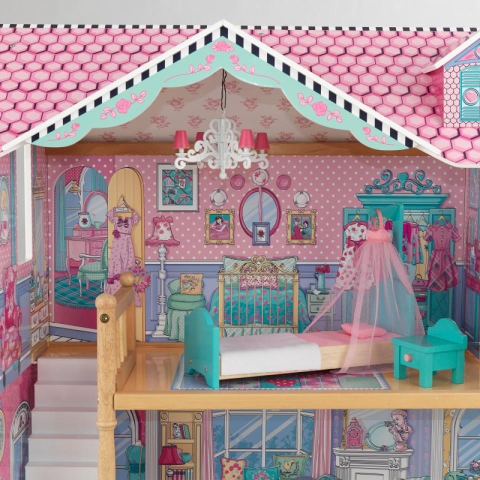 Detalle del dormitorio de kidkraft casa de muñecas annabelle 65934 width=