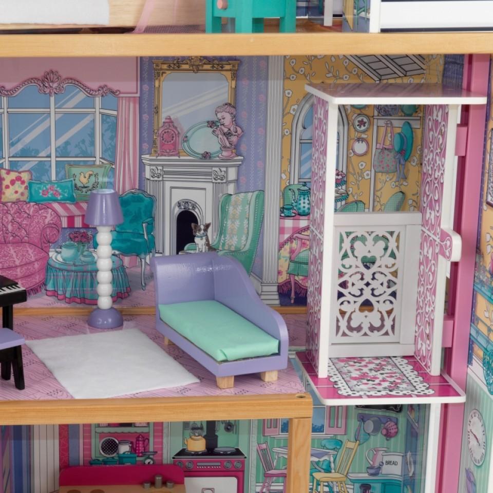Detalle del salón y ascensor de kidkraft casa de muñecas annabelle 65934