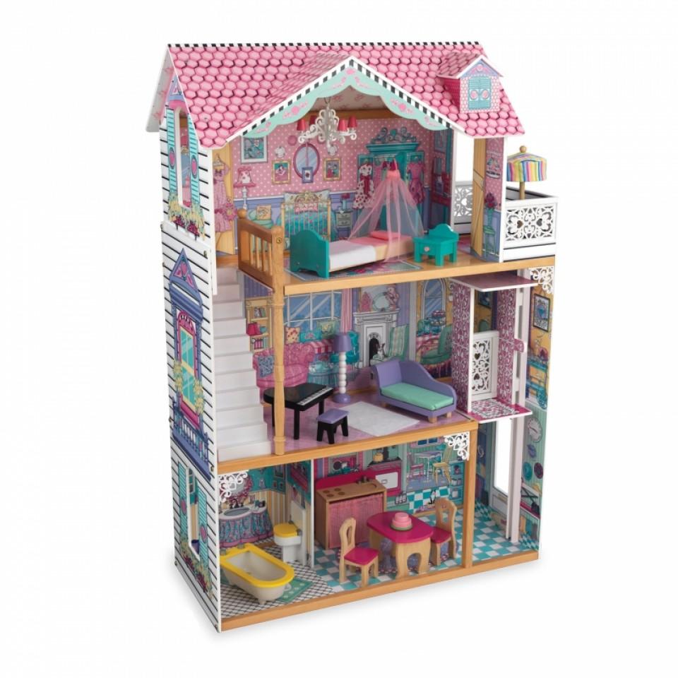 Vista ladeada con todos sus accesorios de kidkraft casa de muñecas annabelle 65934