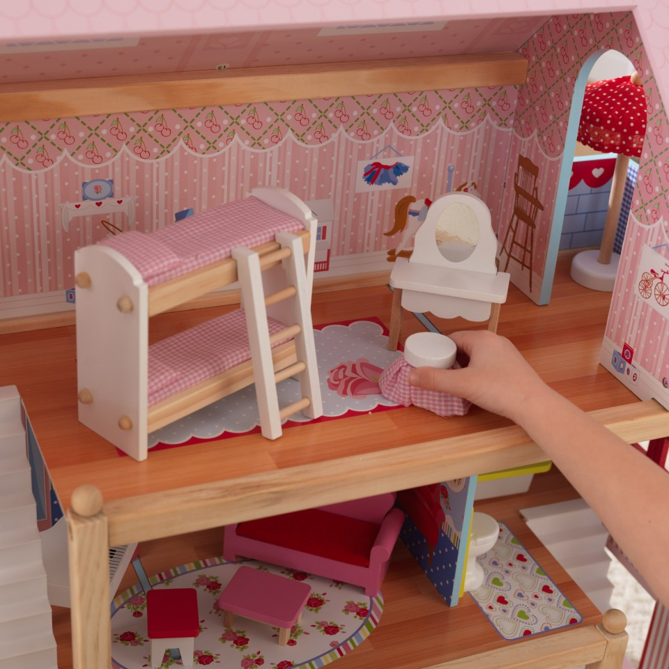 Detalle habitación con tocador de la casa de muñecas Chelsea 65054 Kidkraft