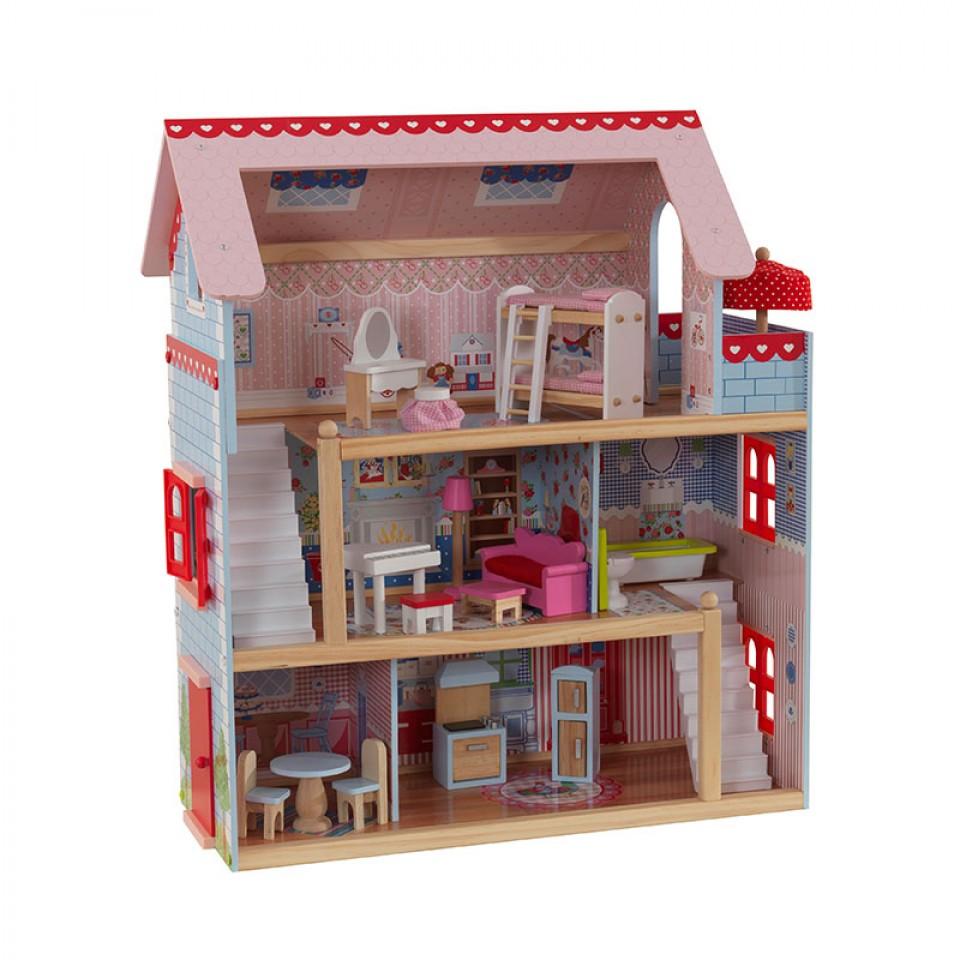 Imagen de todas las estancias de la preciosa casa de muñecas Chelsea 65054 Kidkraft