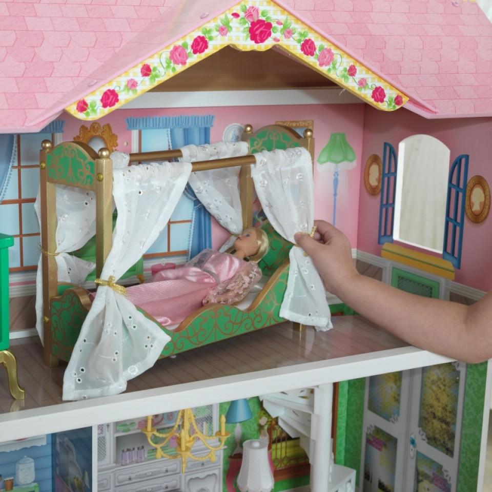 Detalle del dormitorio de Kidkraft casa de muñecas dulce savannah 65935 width=