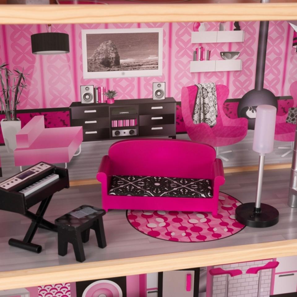 Detalle salón con sofá y lámpara de kidkraft casa de muñecas estilo mansion de lujo 65826 width=