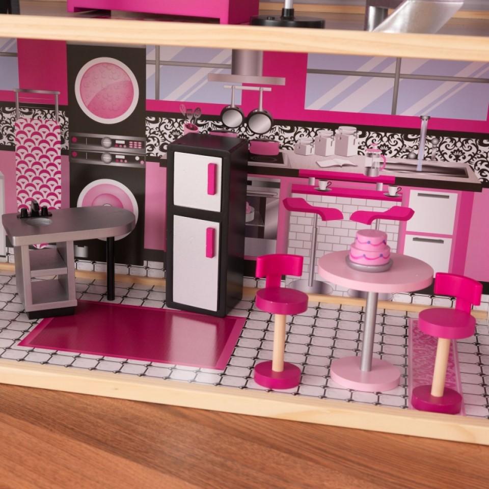 Detalle cocina con varios accesorios de kidkraft casa de muñecas estilo mansion de lujo 65826 width=