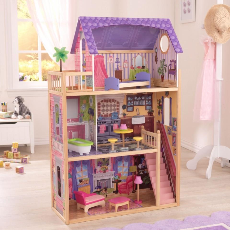 Vista de la casa de muñecas Kayla 65092 Kidkraft con sus accesorios