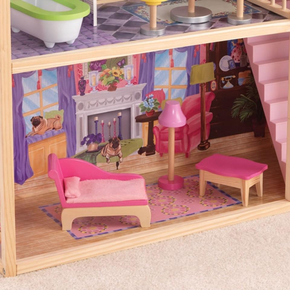 Detalle sillón con chimenea y lámpara de la casa de muñecas Kayla 65092 Kidkraft width=