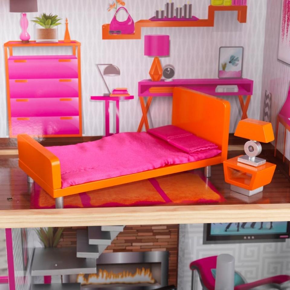 Detalle del dormitorio de Kidkraft casa de muñecas luxury 65871