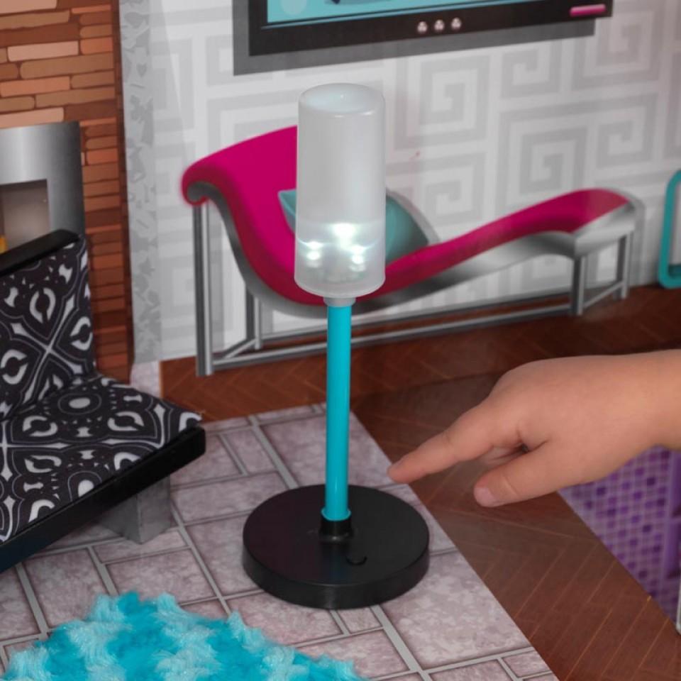 Detalle de lámpara Kidkraft casa de muñecas luxury 65871