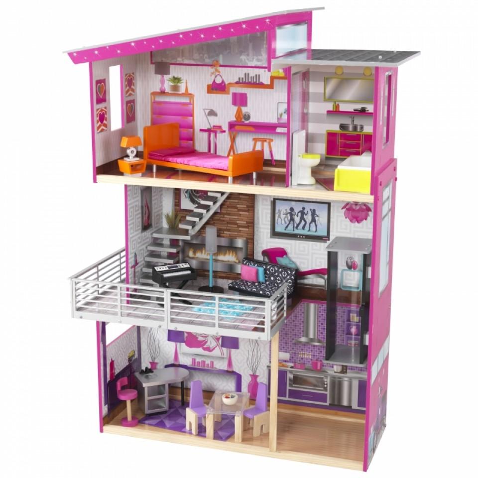 Imagen con todos los accesorios de Kidkraft casa de muñecas luxury 65871