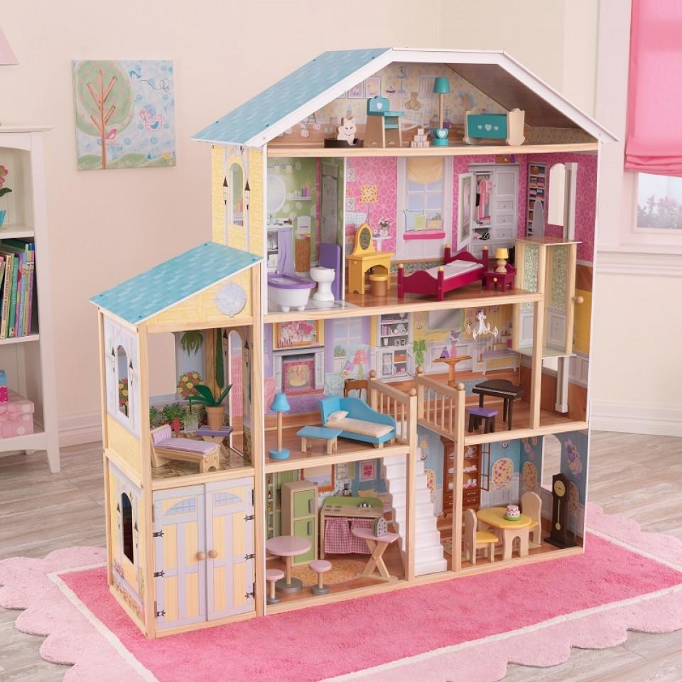 Imagen con todos los detalles de kidkraft casa de muñecas mansion majestuosa 65252
