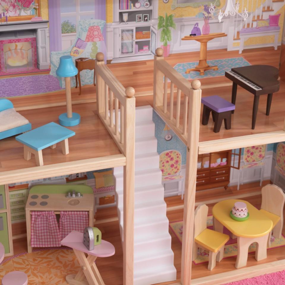Detalle de la preciosa escalera de kidkraft casa de muñecas mansion majestuosa 65252