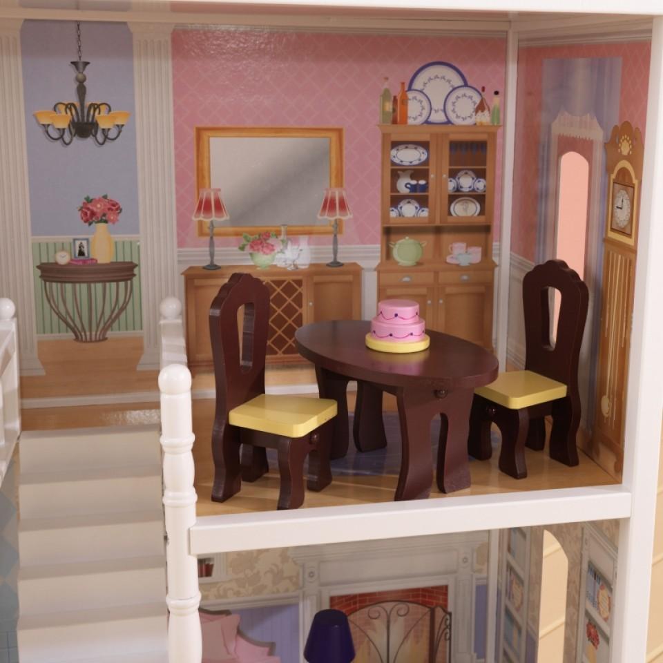 Detalle de mesas y sillas en comedor de kidkraft casa de muñecas savannah 65023 width=