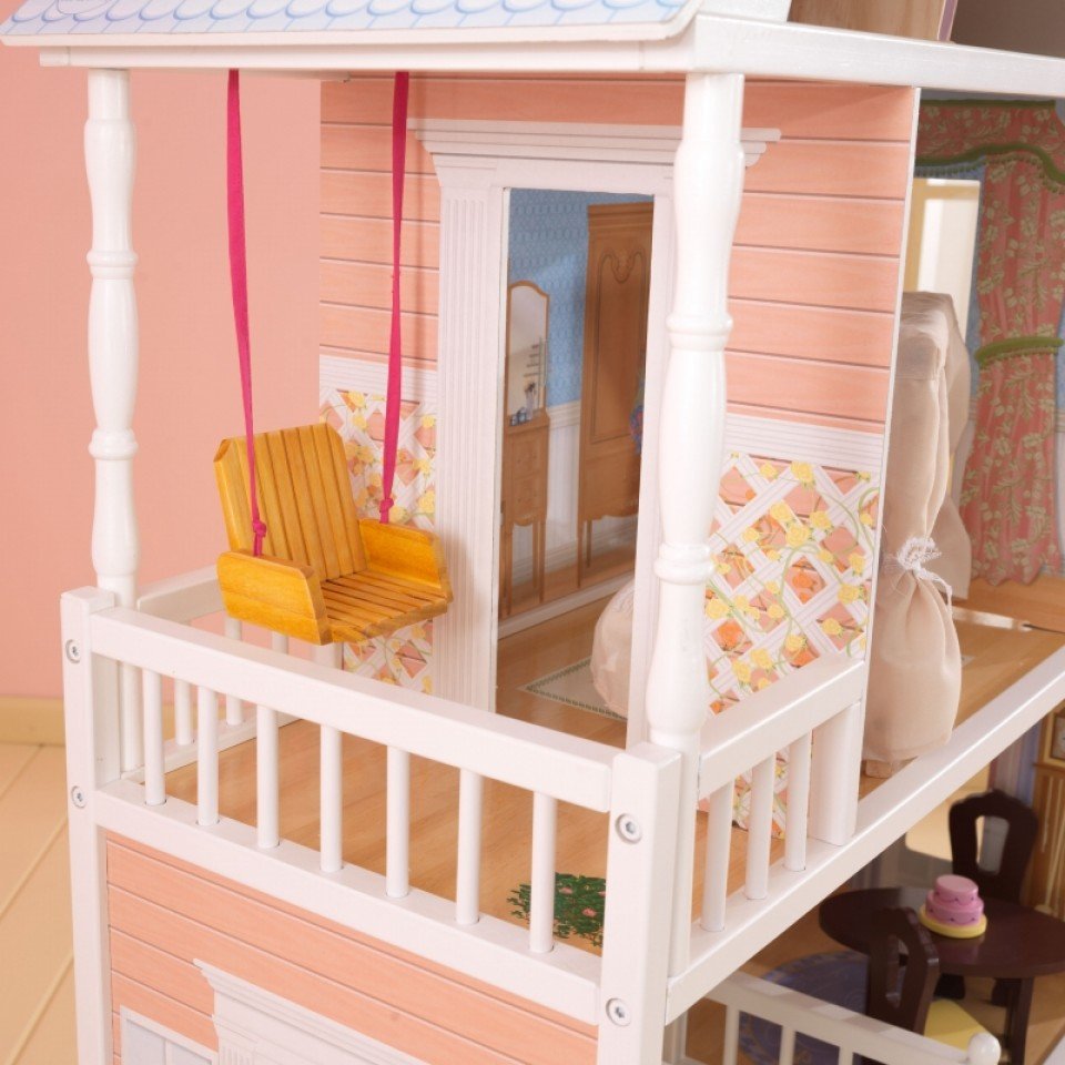 Detalle del balcón con columpio de kidkraft casa de muñecas savannah 65023 width=