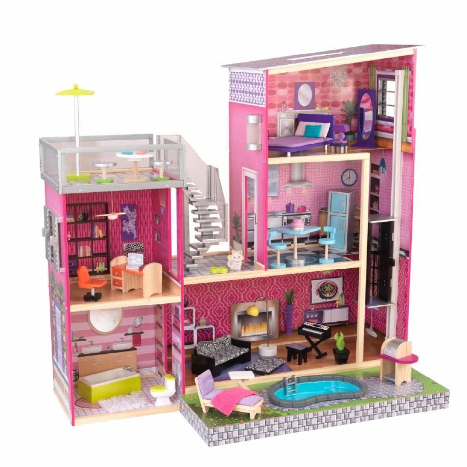 Kidkraft Casa De Muñecas Uptown 65833 donde se pueden apreciar todos los detalles de la misma