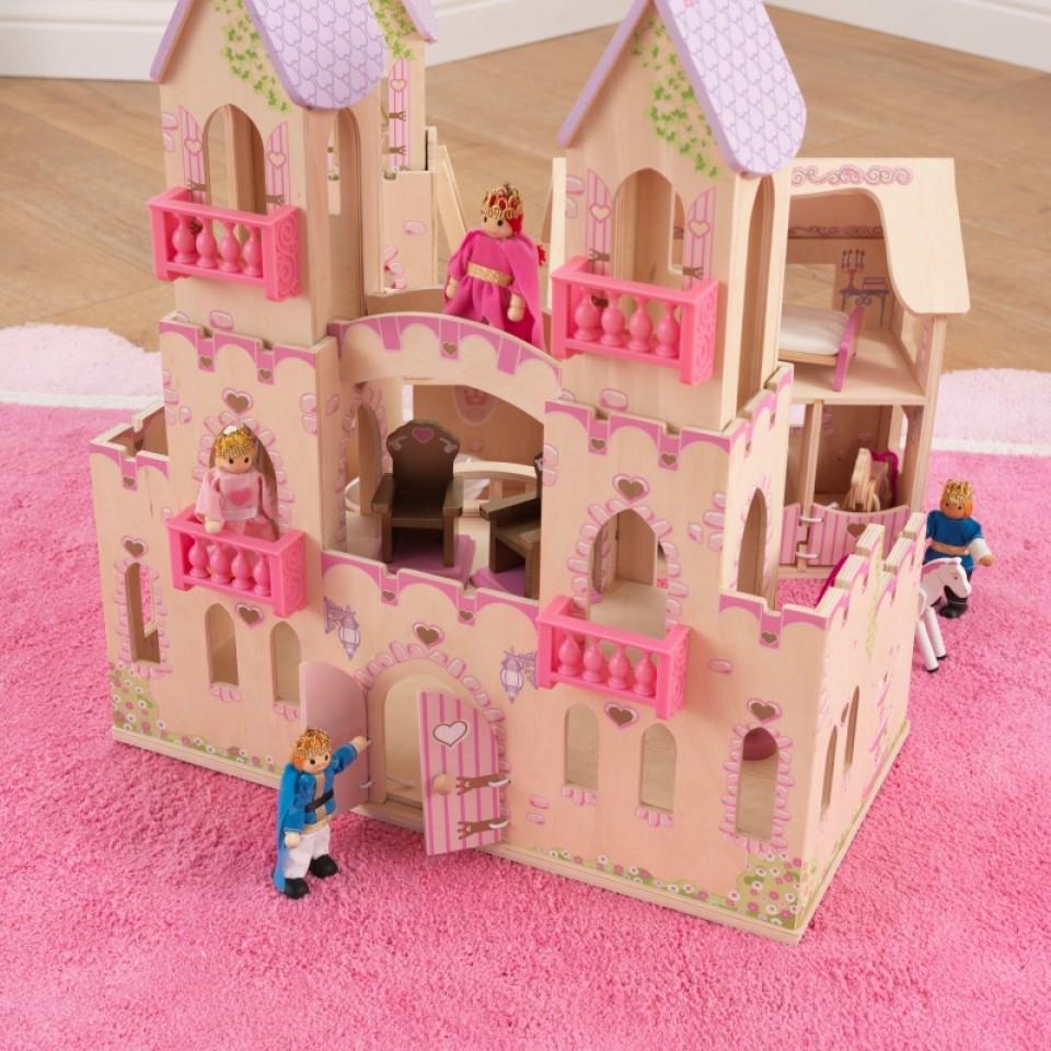 Detalle del castillo de princesas 65259 kidkraft con las figuras y accesorios para jugar width=