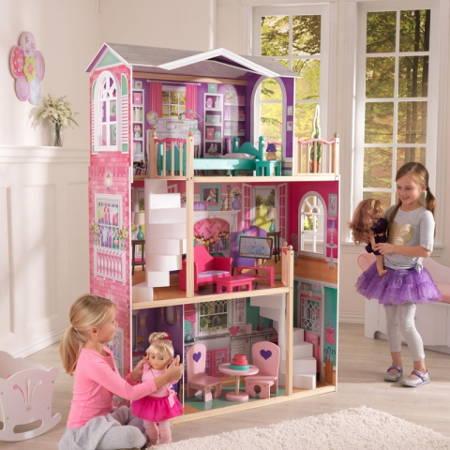 Niñas jugando con kidkraft elegante mansion para muñecas de 46 cm 65830