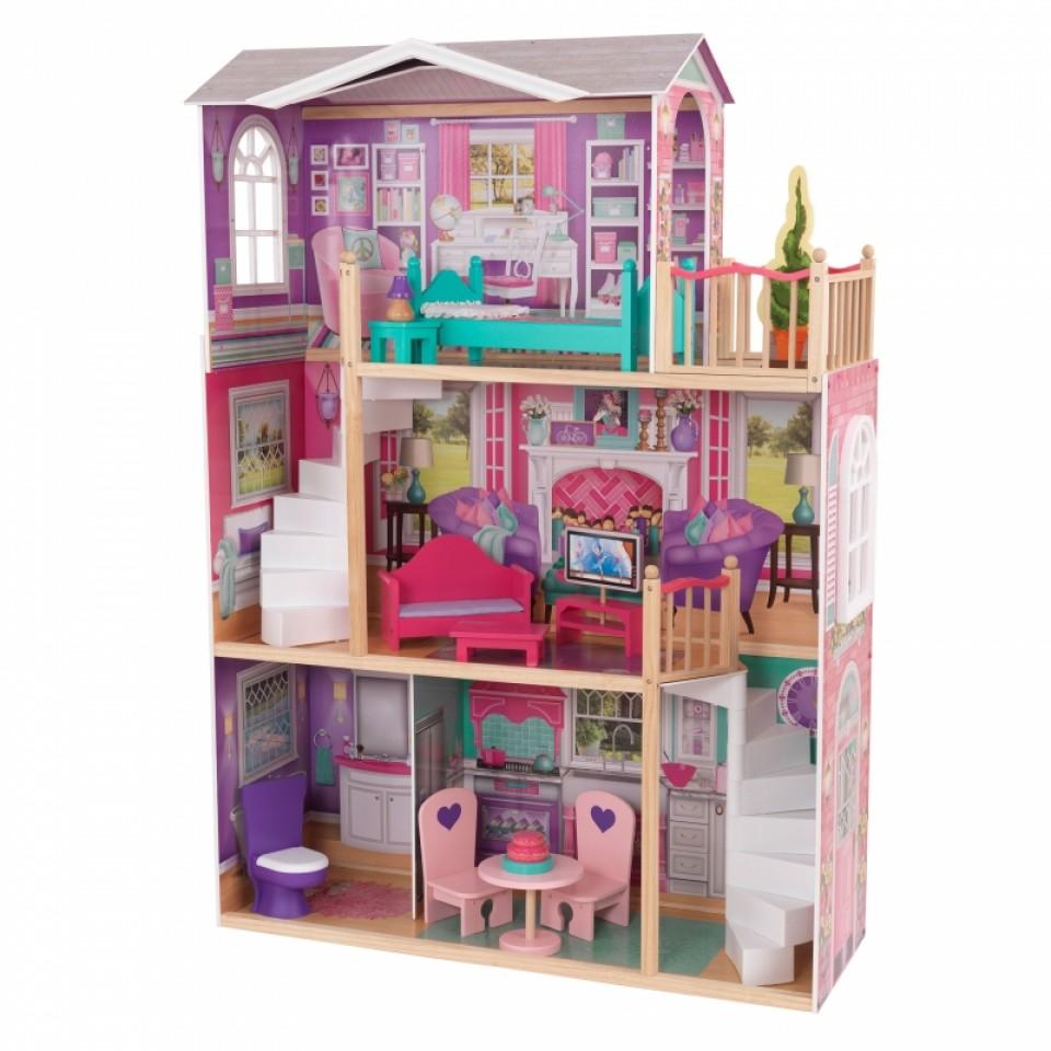 Imagen con todos los detalles de kidkraft elegante mansion para muñecas de 46 cm 65830