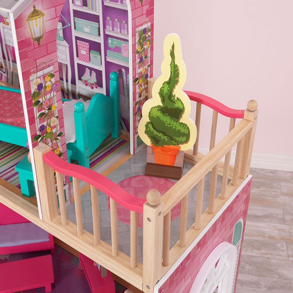 Detalle terraza de kidkraft elegante mansion para muñecas de 46 cm 65830