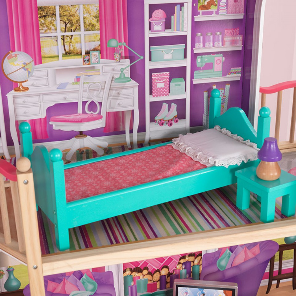 Detalle dormitorio de kidkraft elegante mansion para muñecas de 46 cm 65830