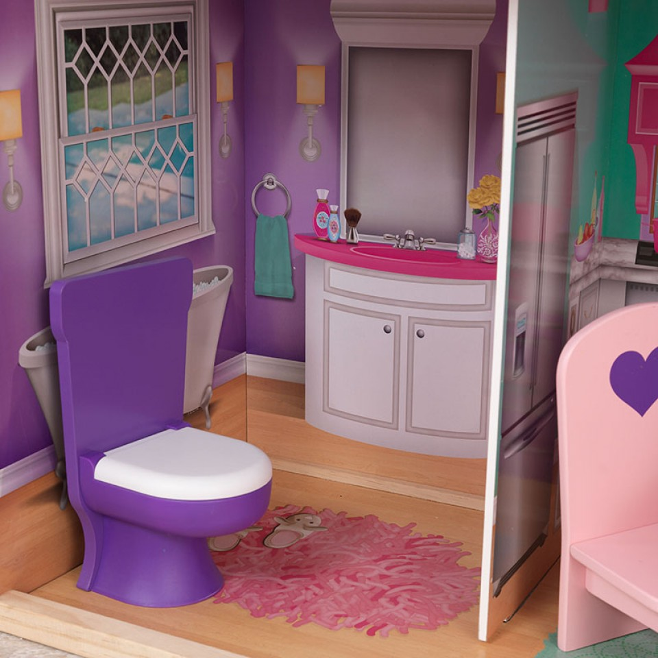 Detalle inodoro con sonido del baño kidkraft elegante mansion para muñecas de 46 cm 65830