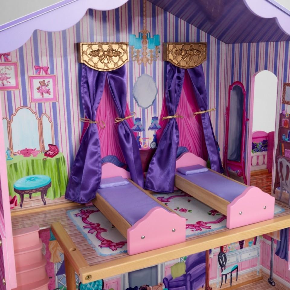 Detalle del dormitorio con dos camas de kidkraft la mansion de mis sueños 65082 width=
