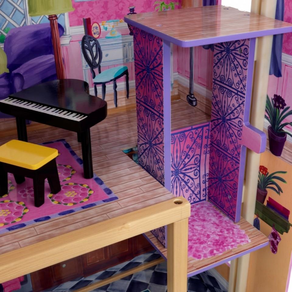 Detalle del ascensor y piano de kidkraft la mansion de mis sueños 65082 width=